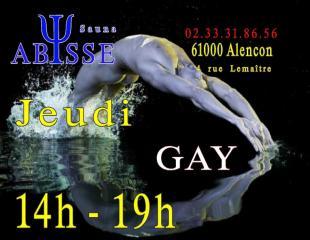 Sauna Club Abysse : Horaires du Club Abysse - jeudi gay
