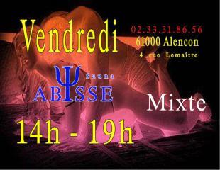 Sauna Club Abysse : Horaires du Club Abysse - vendredi gay