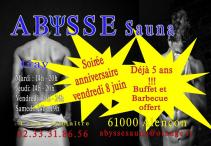 Sauna Club Abysse Alençon - Gay : Anniversaire Abysse - 2018-06-08T19:00:00 - 2018-06-08T23:59:00