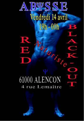 Sauna Club Abysse Alençon - Soirée gay : Naturist Red Black-out - 2017-04-14T19:00:00 to 2017-04-14T23:59:00