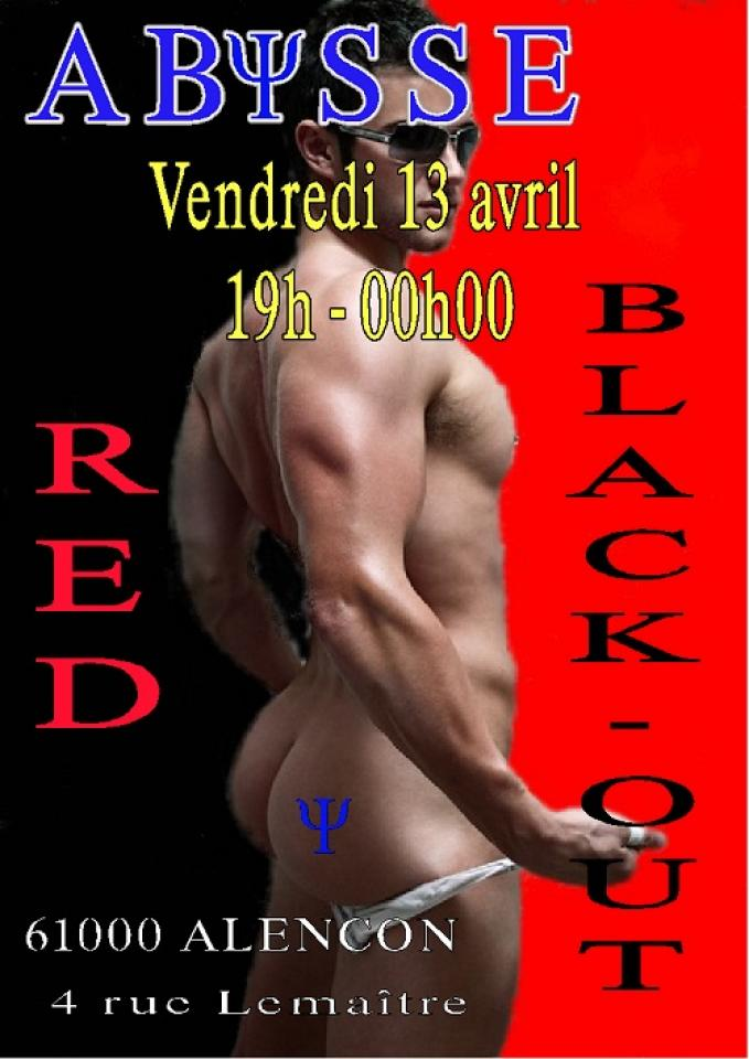 Sauna Club Abysse Alençon - Soirée gay : Red Black-out - 2018-04-13T19:00:00 - 2018-04-13T23:55:00