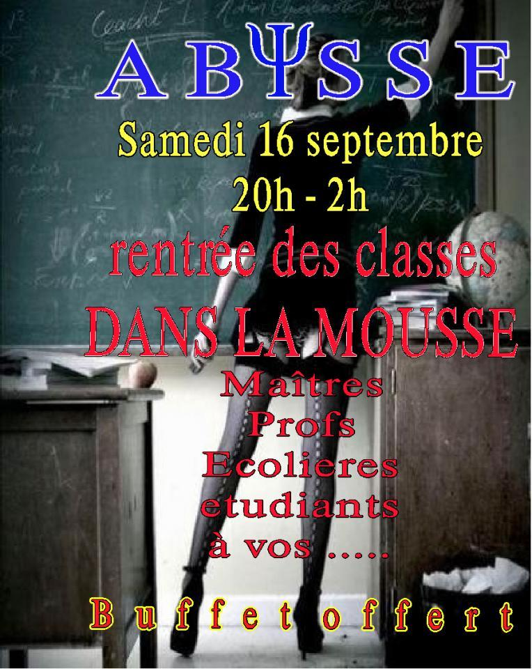 Sauna Club Abysse Alençon - Soirée mixte : Back to School - Evening Mousse - 2017-09-16T20:00:00 to 2017-09-17T02:00:00